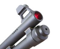 Hot muzzle. Shotgun muzzle that is isolated but inside its glowing red Stock Photography