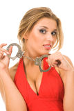 Hot natural blonde with handcuffs Royalty Free Stock Photography