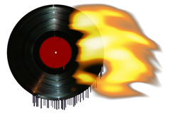 Hot New Record. Record on fire and melting Royalty Free Illustration