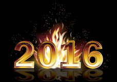 Hot new 2016 year fire banner, vector Royalty Free Stock Photography