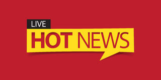 Hot news banner isolated on red background. Banner design template. Stock Images