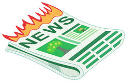 Hot News / Breaking News. Vector newspaper with hot / breaking news, represented by flames Stock Image