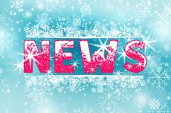 Hot News on cold blue christmas background. Word News inscription and winter frost snowflakes. Advertising web banner Stock Photography