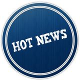 HOT NEWS distressed text on blue round badge. Illustration Stock Photos