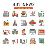 Hot news icons flat style colorful set websites mobile and print media newspaper communication concept internet Stock Images