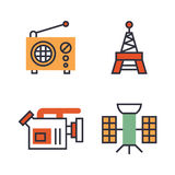 Hot news icons flat style colorful set websites mobile and print media newspaper communication concept internet Royalty Free Stock Photography
