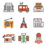 Hot news icons flat style colorful set websites mobile and print media newspaper communication concept internet Royalty Free Stock Image