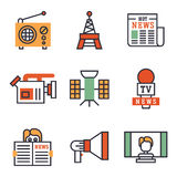 Hot news icons flat style colorful set websites mobile and print media newspaper communication concept internet Stock Photography