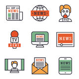 Hot news icons flat style colorful set websites mobile and print media newspaper communication concept internet Stock Photos