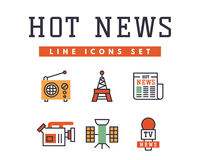 Hot news icons flat style colorful set websites mobile and print media newspaper communication concept internet Royalty Free Stock Photos