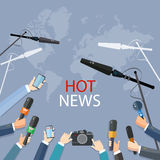 Hot news live report journalists with microphones Stock Photography