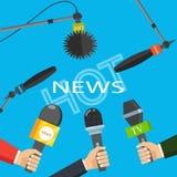 Vector illustration. Hot news, mass media concept. Hot news, mass media concept. Vector illustration royalty free illustration