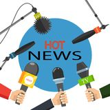 Vector illustration. Hot news, mass media concept. Hot news, mass media concept. Vector illustration stock illustration