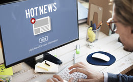 Hot News Newsletter Announcement Daily Concept Stock Photo