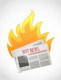 Hot news. newspaper on fire illustration design Stock Photos