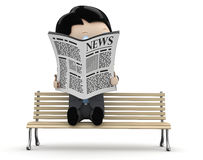 Hot news! Social 3D characters. Businessman in suit reading newspaper on a bench. New constantly growing collection of expressive unique multiuse people images Stock Photography