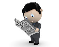 Hot news! Social 3D characters. Businessman in suit reading newspaper. New constantly growing collection of expressive unique multiuse people images. Concept for Royalty Free Stock Photo