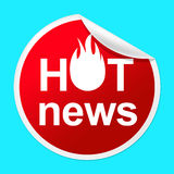 Hot News Sticker Represents Media Player And Best Stock Images