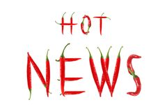 HOT NEWS text composed of chili peppers. Royalty Free Stock Photo