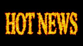 Hot news text word concept burning on black background. In background vector illustration