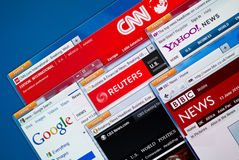 Hot News Web Sites. Kiev, Ukraine - June 13, 2011 - Top news web sites - CNN, Google News, Reuters, Yahoo News, BBC and CBS News in Firefox browsers on a Stock Image