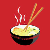 Hot Noodle. A vector illustration of a bowl of hot noodle, with some tomato slices, an egg, and some mustard greens… Hmmm… Yummy Royalty Free Stock Photo