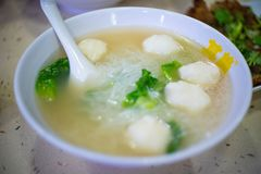 Hot noodle with soup and meat ball royalty free stock image