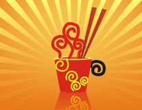 Hot Noodles with red chopstick. Hot Noodles illustration, with red chopstick Vector Illustration