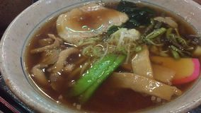 Hot noolde - Japanese cuisine. Hot noolde with bamboo and beef - Japanese cuisine stock video