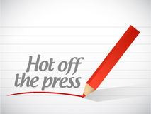Hot off the press written message illustration Stock Photo