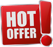 Hot Offer Design for Button Sign Icon Royalty Free Stock Photos