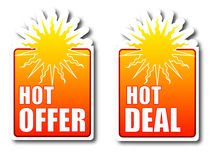 Hot offer Hot deal badges Stock Images