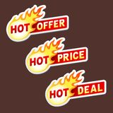 Hot offer, price and deal flame vector sticker Royalty Free Stock Photos