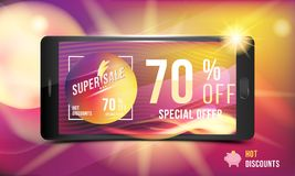 Hot offer is a super discount of 70 . Concept of advertising with a smartphone and banner with hot discounts and realistic fire wi. Th light effects on a colored Royalty Free Stock Photos