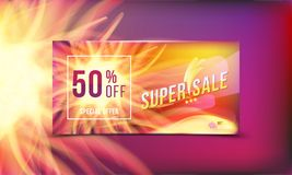 Hot offer is a super sale of 50 . Concept of advertising banner with hot discounts and realistic fire with light effects on a colo. Red background. Vector Royalty Free Stock Images