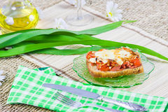 Hot open sandwich with sausage Stock Images