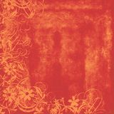 Hot Orange distressed background. Peachy orange textured background with swirl and flower overlay Stock Photography