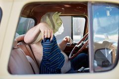 Hot overweight man in a cat mask. Sitting in a vehicle behind the steering wheel taking off his T-shirt and waving it in his hand Royalty Free Stock Images
