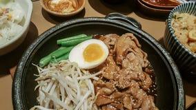 Hot pan Stir Fry Pork with soy sauce . Korea food Stock Photos