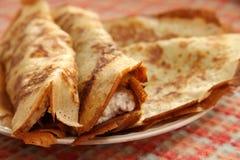 Hot pancakes for breakfast. Hot tasty pancakes for breakfast Stock Images