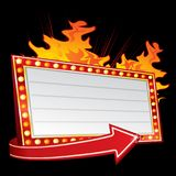 Hot party invitation in flames Stock Images