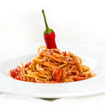 Hot pasta with cheese and tomatos Royalty Free Stock Photos