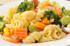 Hot pasta salad Royalty Free Stock Images