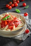 Hot penne bolognese made of fresh tomatoes Royalty Free Stock Photo