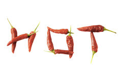 Hot Pepper. Hot spelled with hot peppers Royalty Free Stock Photos
