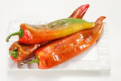 Hot pepper. Red hot chili pepper on a white background Stock Photos