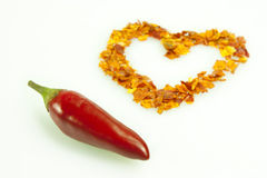 Hot pepper. Whole fresh and dried chilli on white background Stock Photo