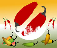 Hot pepper. Abstract colored background with various hot pepper shapes Stock Photo