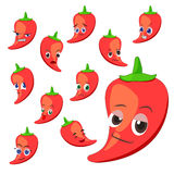 Hot pepper cartoon with many expressions Stock Images