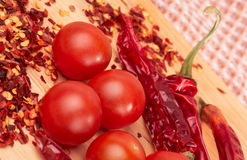 Hot pepper and cherry tomatos Stock Photo